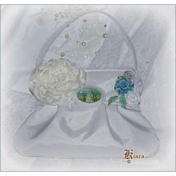 Torebka ślubna z broszką odpinaną
