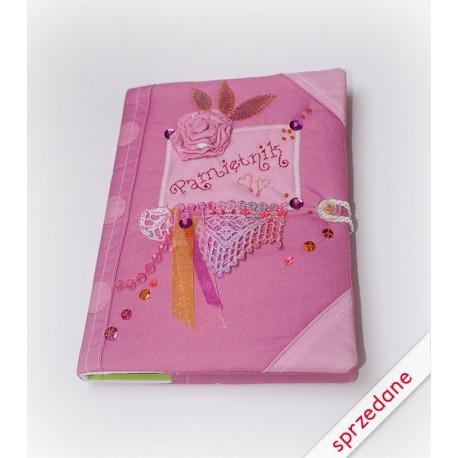 Pamiętnik haftowany różowy